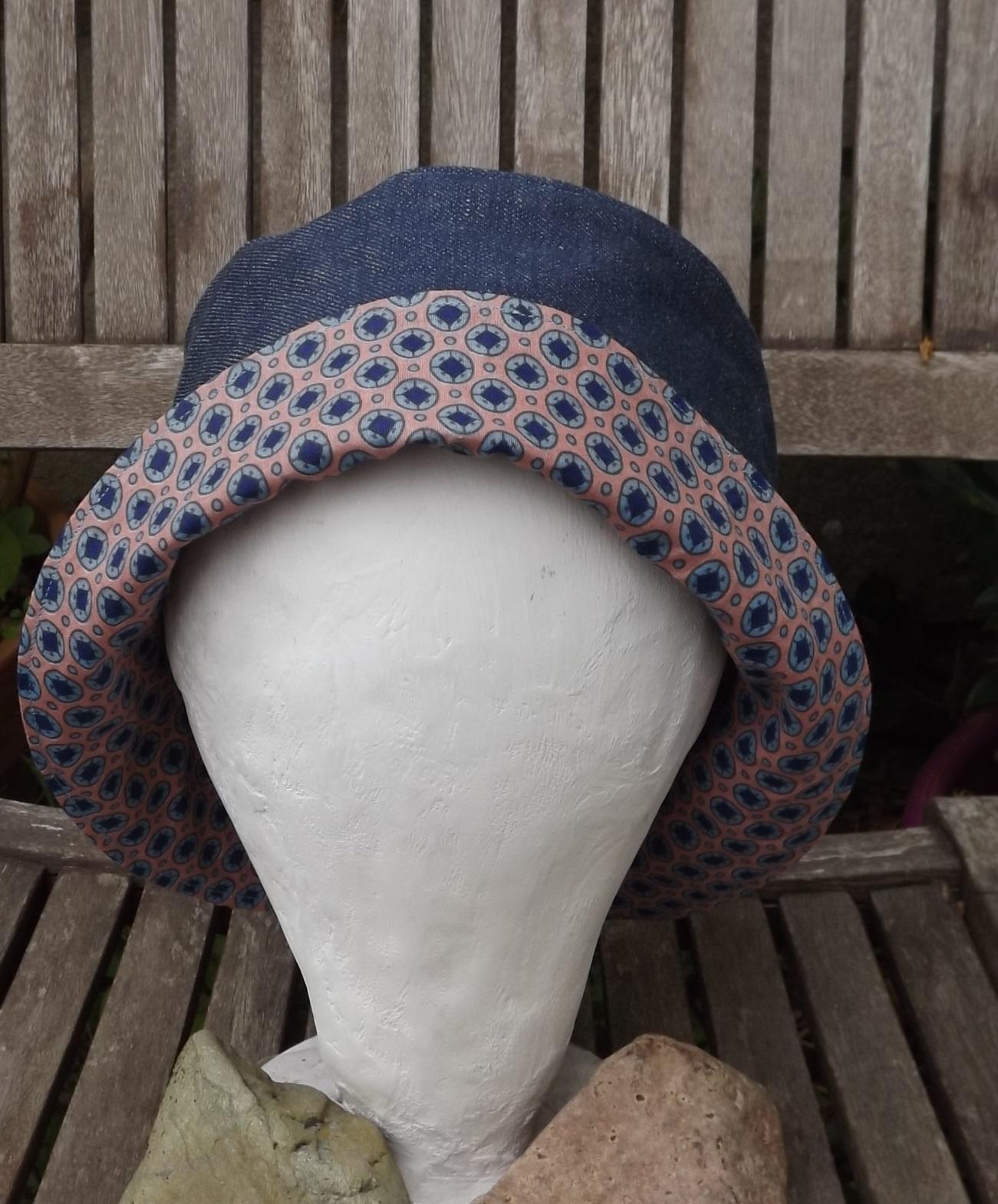 chapeau de soleil pour femme en jean doubl coton. Black Bedroom Furniture Sets. Home Design Ideas