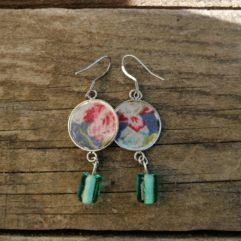 boucles d'oreilles médailles avec perles