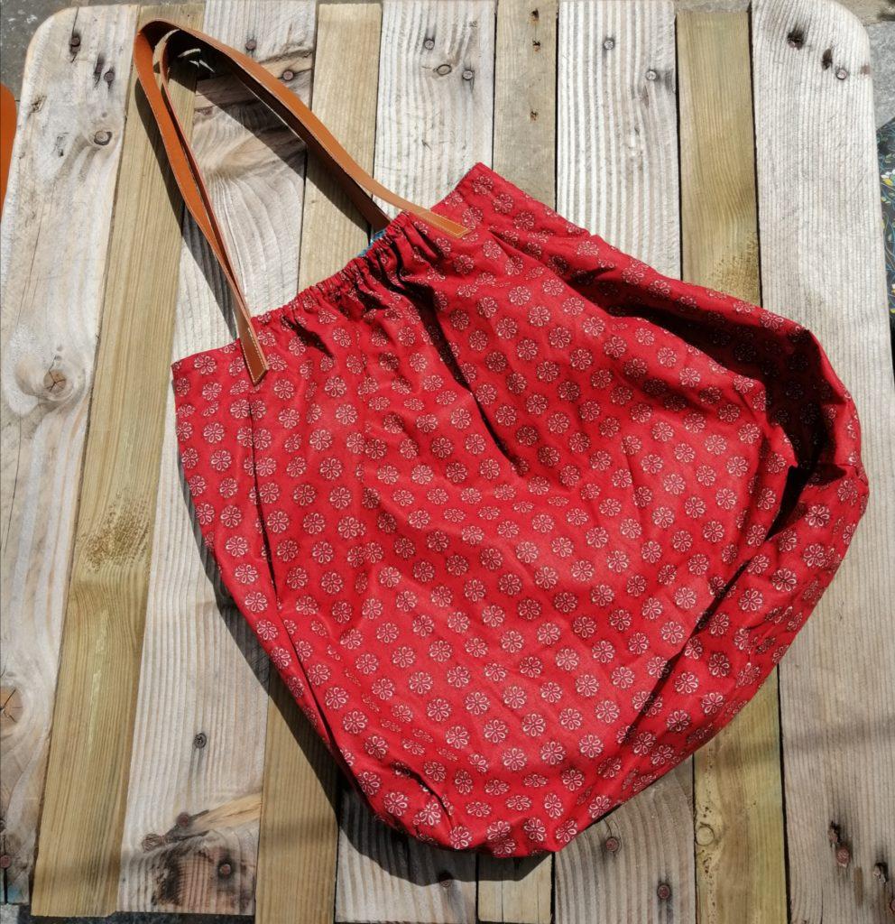 grand sac à main cuir et coton